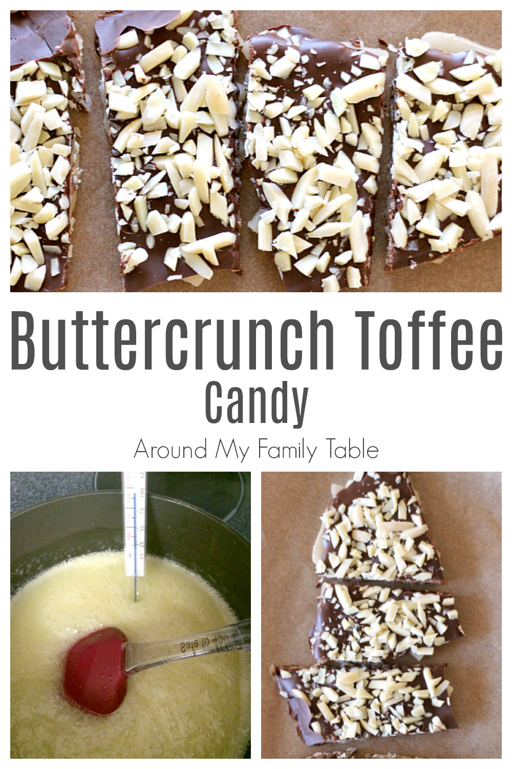 collage of toffee and candy making process