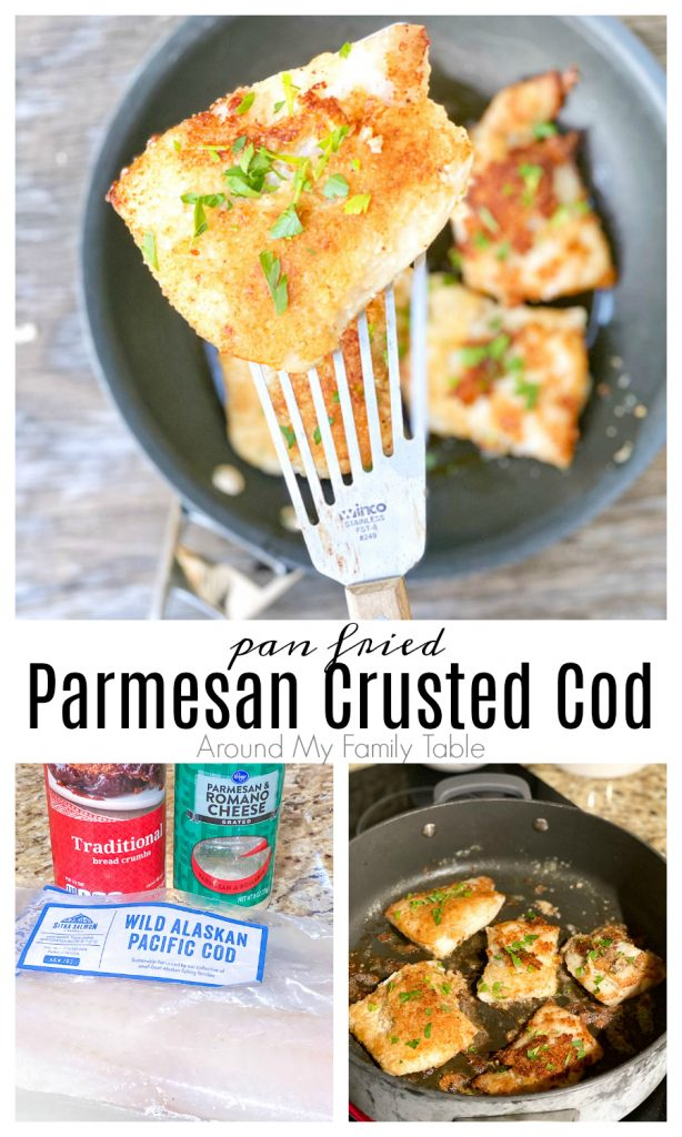 Parmesan Crusted Cod collage of ingredients and fish cooking in pan
