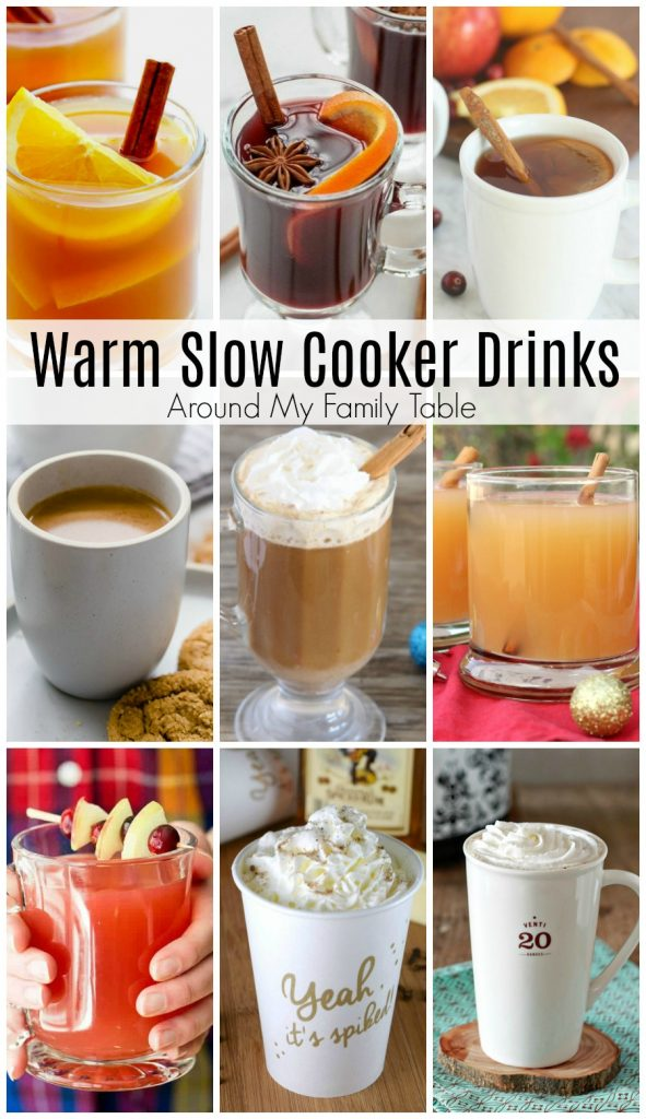 Hosting a party, then plug in your slow cooker and let the aroma of one of these Warm Slow Cooker Drinks fill your house and delight your guests this winter. #slowcooker #warmdrinks #hotdrinks #slowcookerdrinks