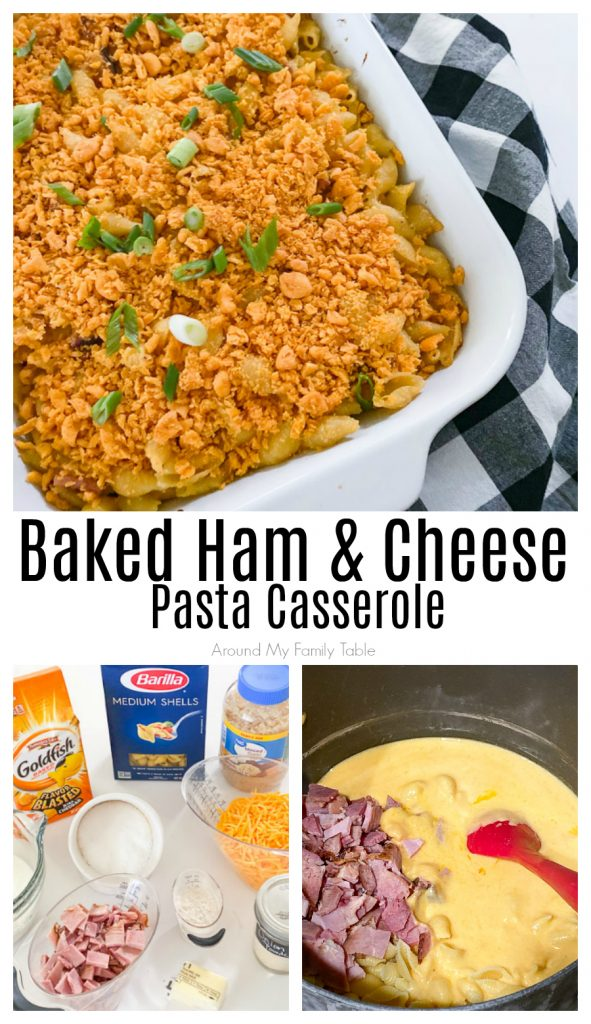 Baked Ham & Cheese Pasta Casserole in white pan plus ingredients collage