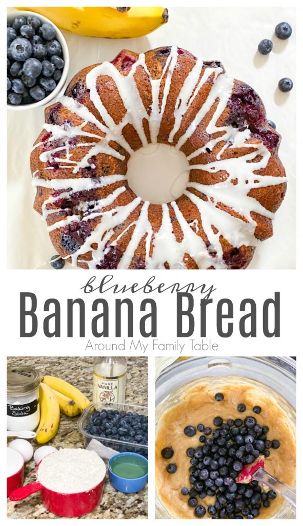 blueberry banana bread collage with done bread, ingredients, and batter