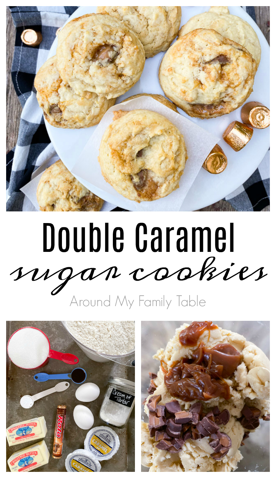 These Double Caramel Sugar Cookies are soft and chewy and have the perfect blend of vanilla and two types of caramel. These might just be our new favorite cookie. via @slingmama