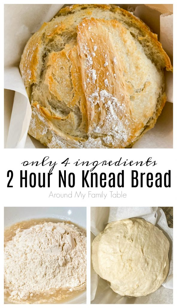 collage of 2 Hour No Knead Bread