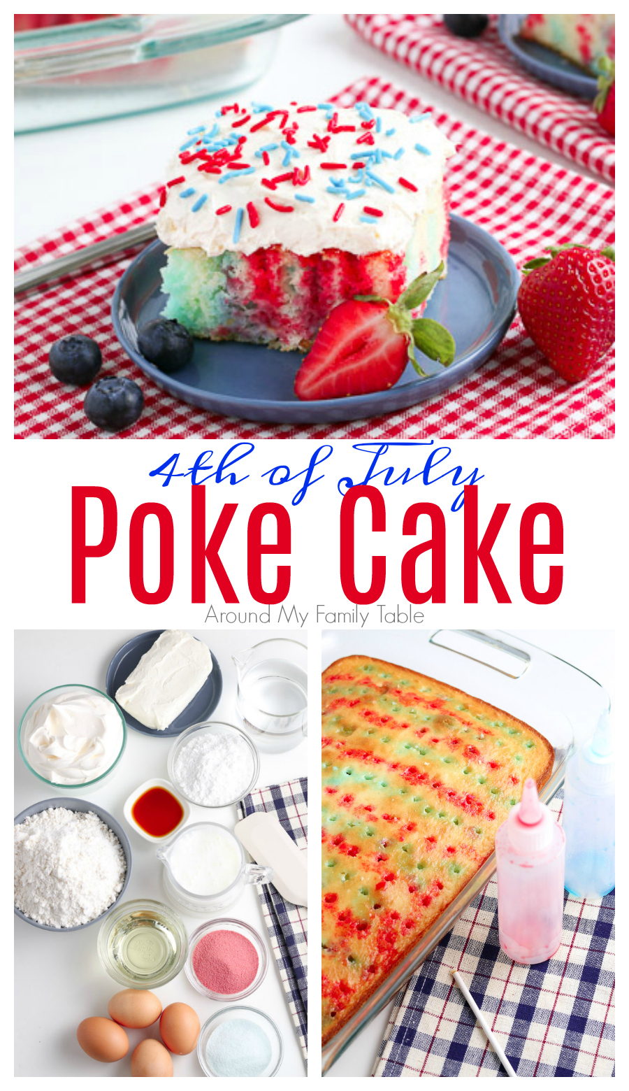 This festive 4th of July Poke Cake is perfect for a hot, summer day.  The red & blue jello gives a traditional poke cake a patriotic twist. It's great for parties all summer long from Memorial Day to 4th of July to Labor Day. via @slingmama