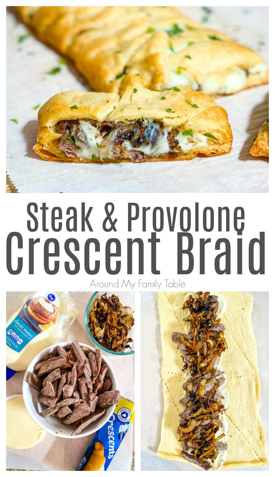 This Steak & Provolone Crescent Braid is the perfect blend of leftover steak, caramelized onions, and lots of gooey provolone that's perfect for a Sunday lunch or simple weeknight supper. It would make a great party appetizer too! via @slingmama