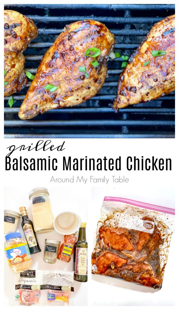 Balsamic Marinated Chicken collage...ingredients, marinating chicken in a bag, cooked chicken on the grill