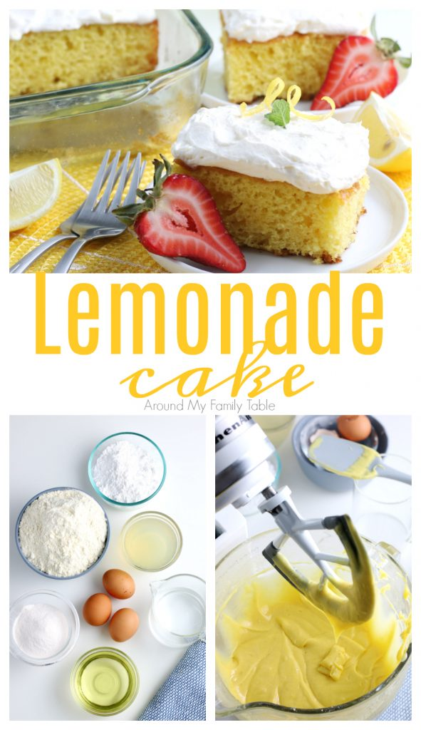 lemonade cake slices on white plates and yellow placement and ingredients and process shots