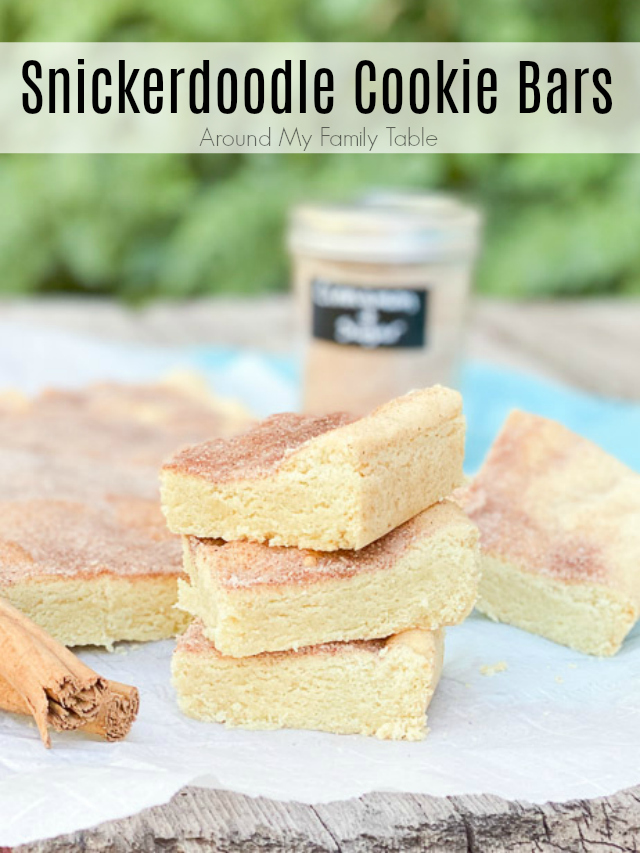 snickerdoodle cookie bars on a wood table