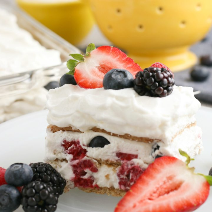 slice of mixed berry graham cracker icebox cake