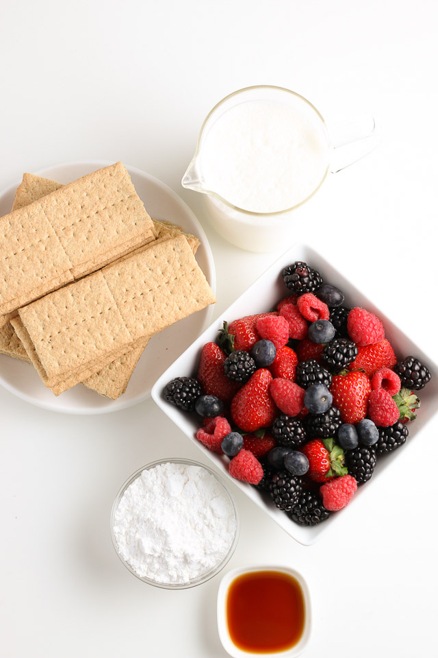 mixed berry graham cracker icebox cake ingredients
