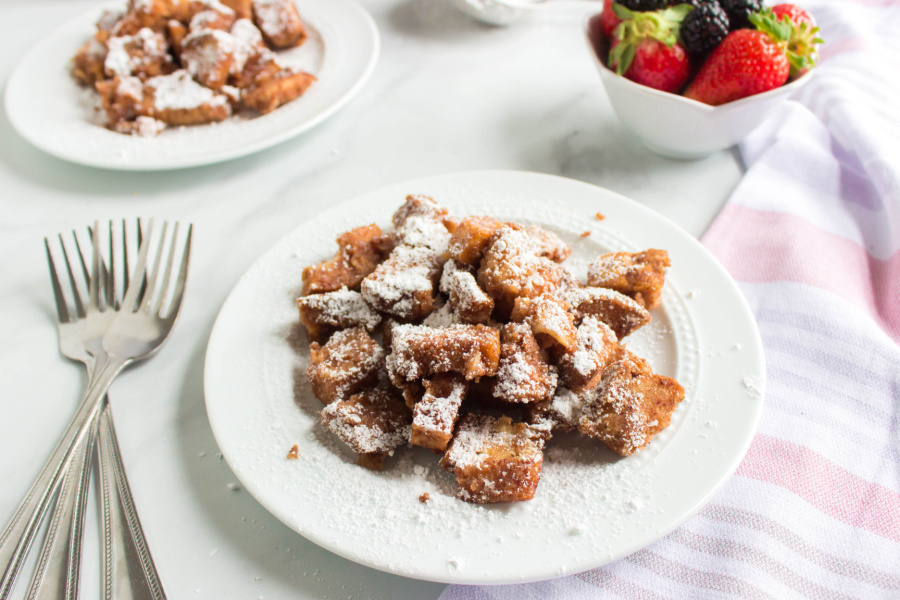 slow cooker french toast casserole on white plate
