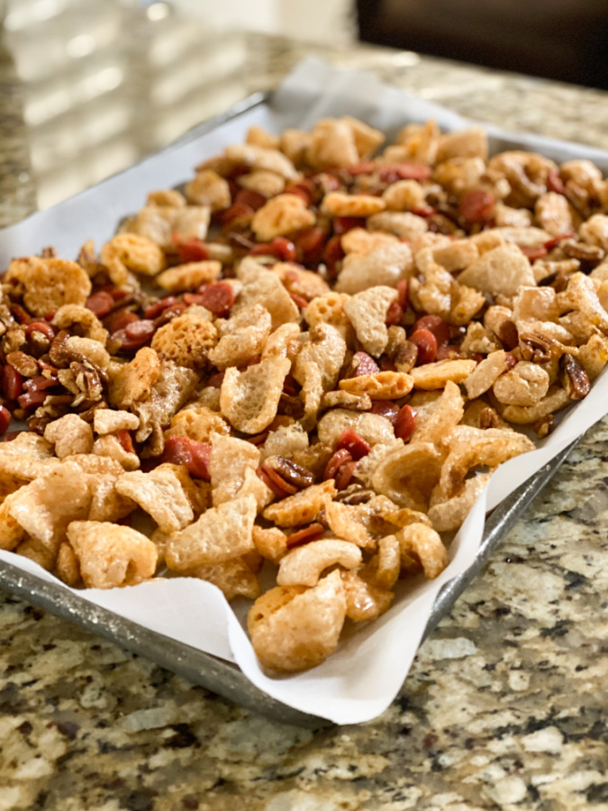 Low Carb Keto Snack Mix on a baking sheet