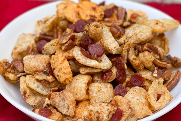 Low Carb Keto Snack Mix in a white bowl on a red napkin