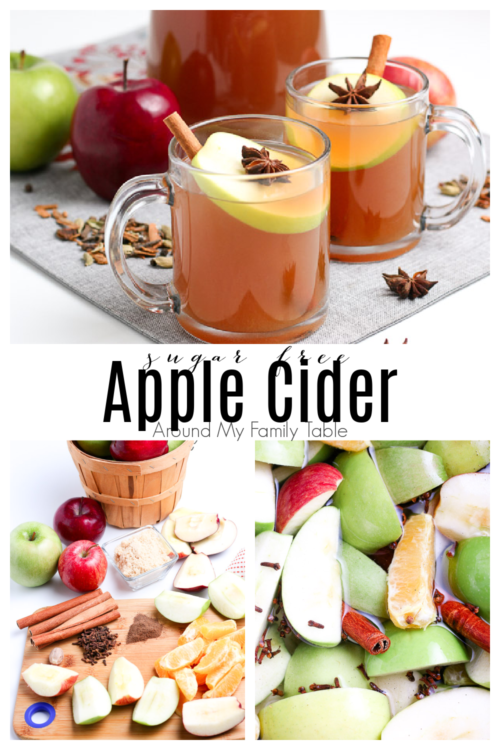 Sugar Free Apple Cider is the best way to warm up on a cool day.  Lots of spices, fresh apples, and your favorite brown sugar replacement makes a delicious fall drink that's perfect for anyone, especially those on a low carb or keto diet or anyone watching their sugar intake.  via @slingmama