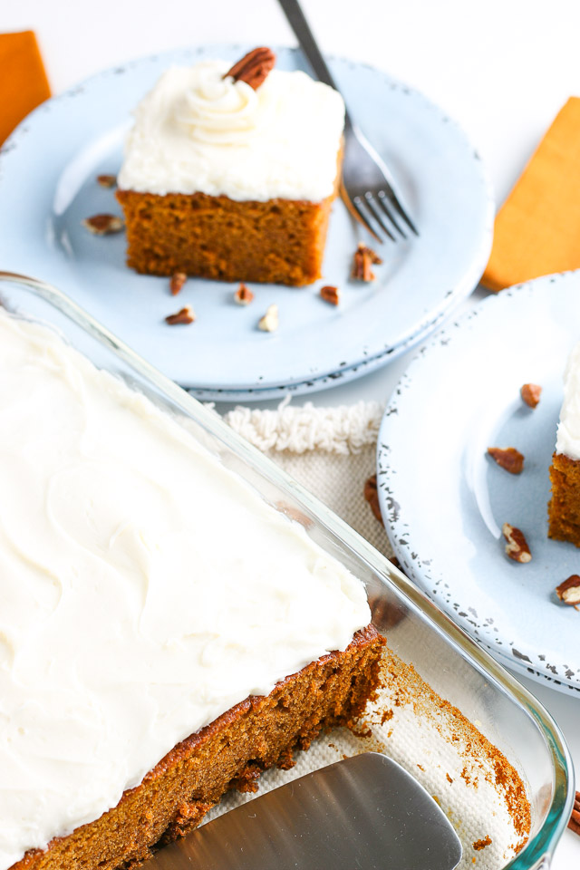 keto pumpkin cake with cream cheese frosting on serving plates