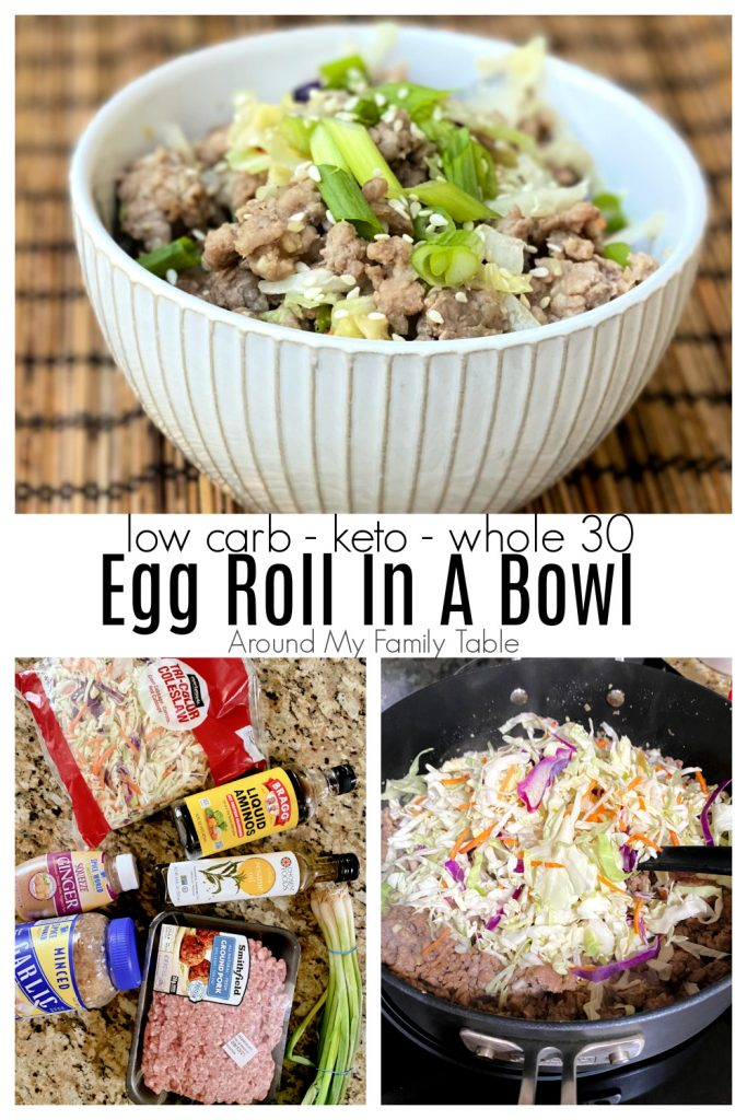 keto egg roll in a bowl collage, ingredients, cooking, and served