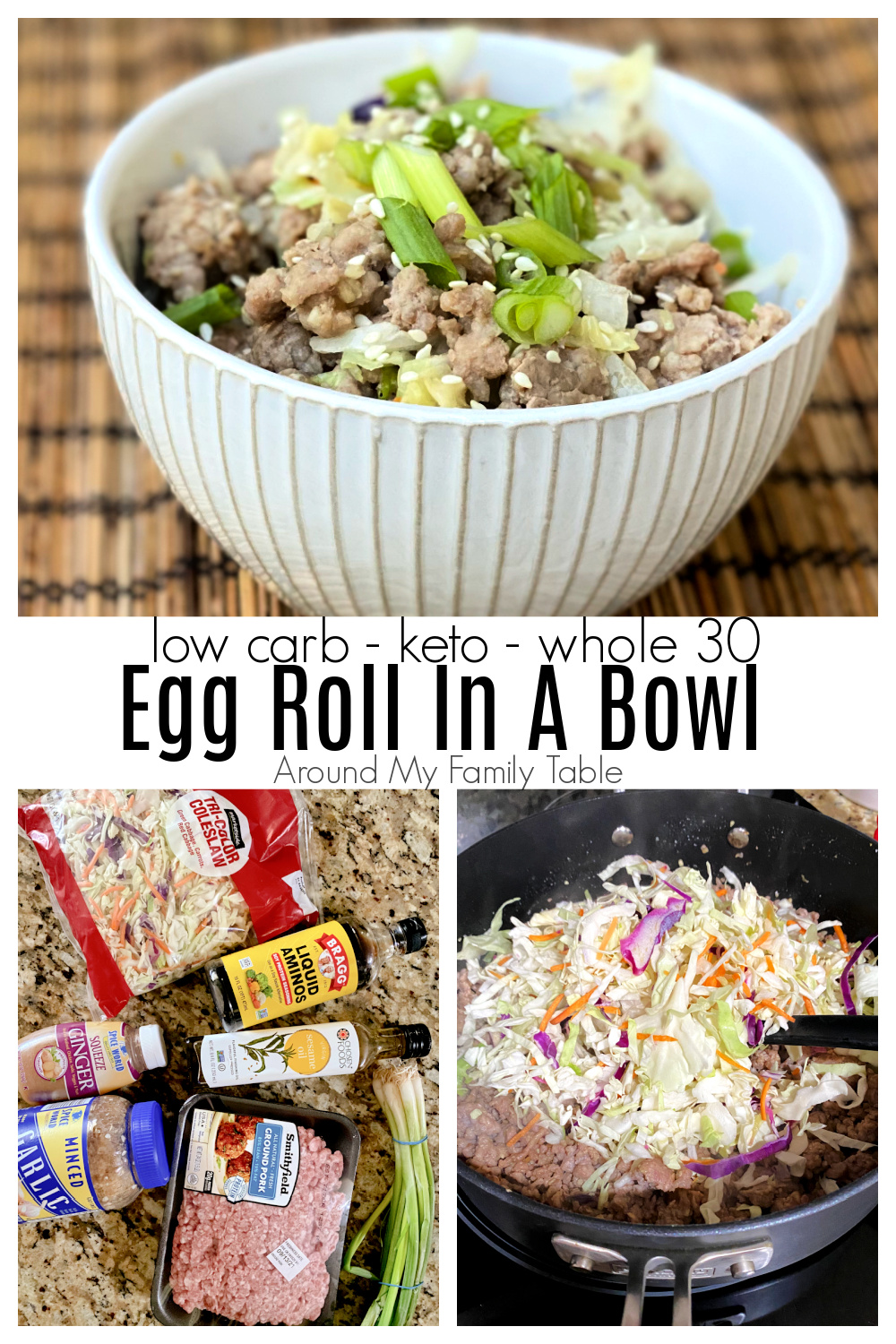 Keto Egg Roll in a Bowl is a simple and quick dinner that has all the delicious flavors of an egg roll without the carbs or fuss of making egg rolls. via @slingmama