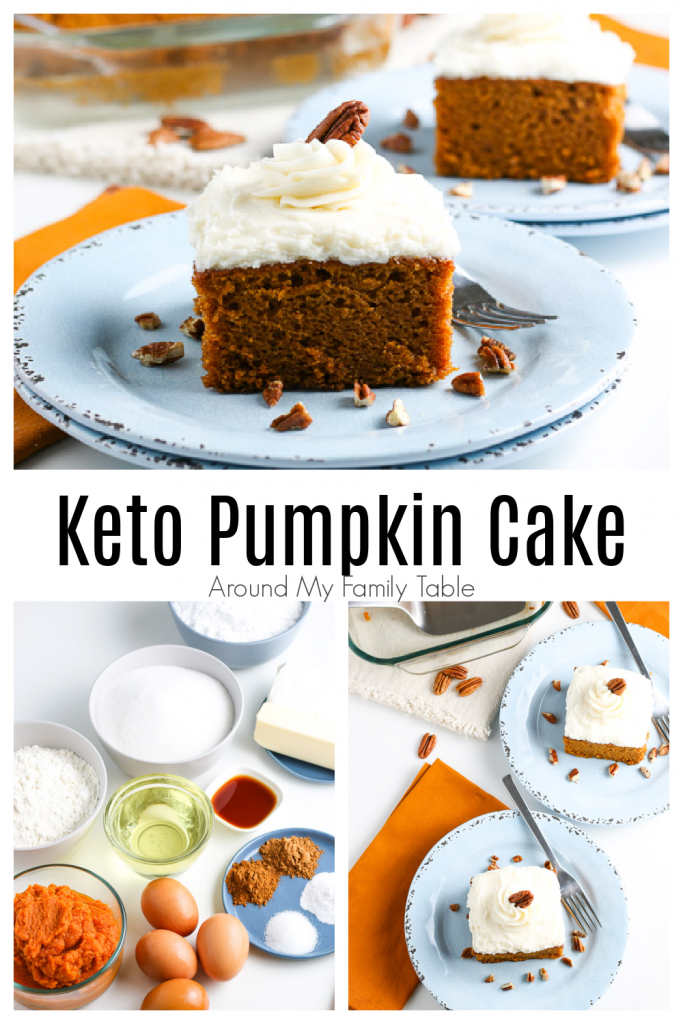 keto pumpkin cake with cream cheese frosting collage of cake and ingredients