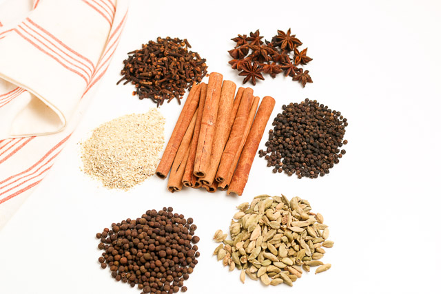 Mulling spices on white background